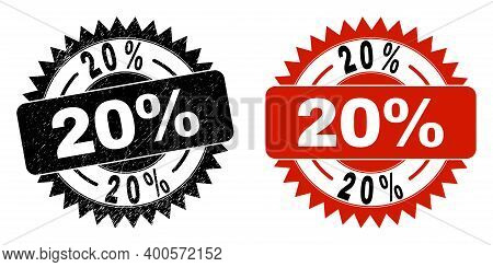 Black Rosette 20 Percent Seal Stamp. Flat Vector Distress Stamp With 20 Percent Text Inside Sharp Ro