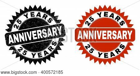 Black Rosette 25 Years Anniversary Seal Stamp. Flat Vector Distress Stamp With 25 Years Anniversary