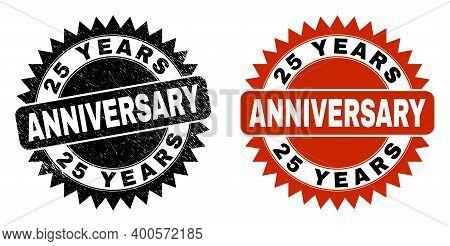 Black Rosette 25 Years Anniversary Seal Stamp. Flat Vector Distress Stamp With 25 Years Anniversary