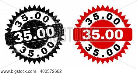 Black Rosette 35.00 Seal. Flat Vector Distress Seal With 35.00 Caption Inside Sharp Rosette, And Ori