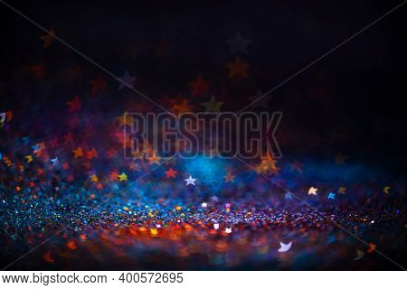Decoration Twinkle Lights Background, Abstract Blurred Backdrop With Stars, Modern Design Wallpaper