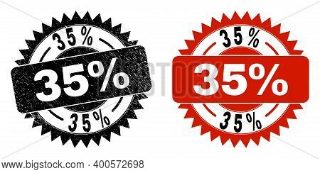 Black Rosette 35 Percent Seal Stamp. Flat Vector Distress Seal Stamp With 35 Percent Caption Inside