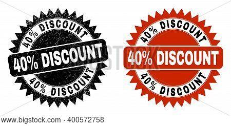 Black Rosette 40 Percent Discount Seal Stamp. Flat Vector Textured Seal Stamp With 40 Percent Discou
