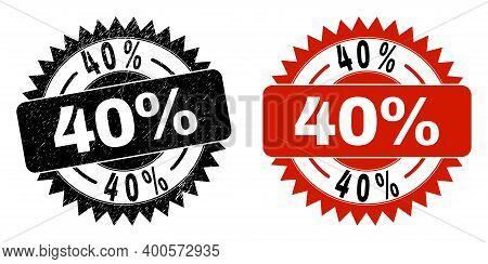Black Rosette 40 Percent Seal. Flat Vector Textured Seal With 40 Percent Text Inside Sharp Rosette,