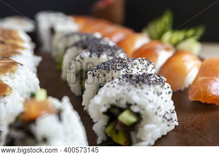 Set Of Sushi Rolls Deliciously Laid Out On A Platter
