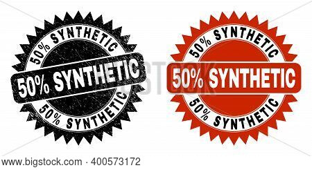 Black Rosette 50 Percent Synthetic Seal Stamp. Flat Vector Grunge Seal With 50 Percent Synthetic Tex