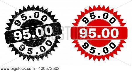Black Rosette 95.00 Seal. Flat Vector Grunge Watermark With 95.00 Phrase Inside Sharp Rosette, And O