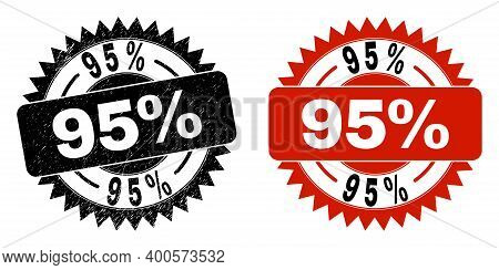 Black Rosette 95 Percent Watermark. Flat Vector Grunge Watermark With 95 Percent Caption Inside Shar