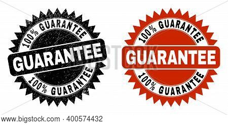 Black Rosette 100 Percent Guarantee Watermark. Flat Vector Distress Watermark With 100 Percent Guara