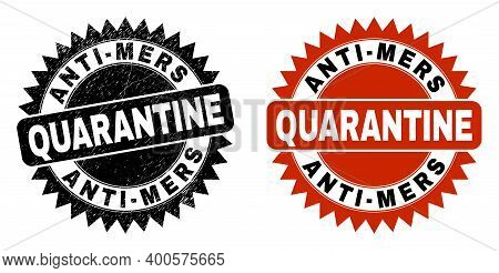 Black Rosette Anti-mers Quarantine Seal. Flat Vector Scratched Seal With Anti-mers Quarantine Phrase