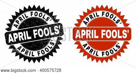 Black Rosette April Fools Seal Stamp. Flat Vector Textured Watermark With April Fools Caption Inside