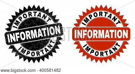 Black Rosette Important Information Seal Stamp. Flat Vector Textured Seal Stamp With Important Infor