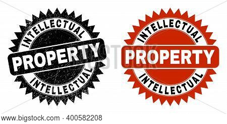 Black Rosette Intellectual Property Seal Stamp. Flat Vector Grunge Seal Stamp With Intellectual Prop