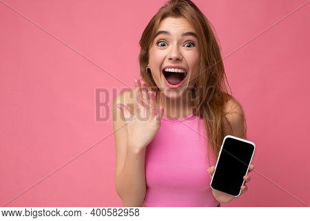 Closeup Photo Of Beautiful Overjoyed Smiling Young Woman Good Looking Wearing Casual Stylish Outfit