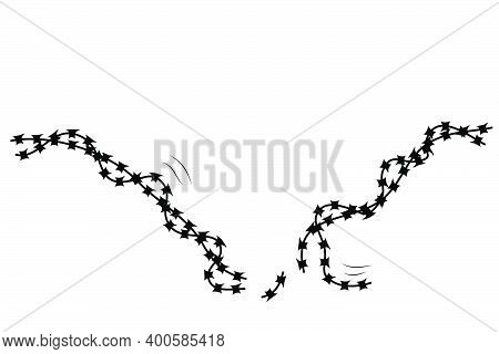 Vector Silhouette Broken Barricade From Barbed Wire, Suitable Illustration For Demonstration Or Prot