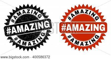 Black Rosette Hashtag Amazing Seal Stamp. Flat Vector Scratched Seal Stamp With Hashtag Amazing Mess
