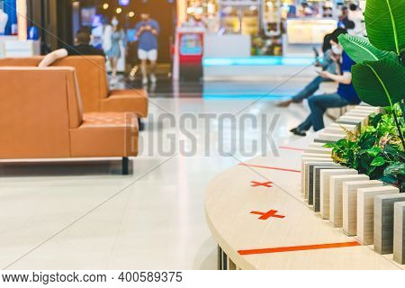 Alternative Seating Mark For Social Distance Rules In The Mall Distance For One Seat From Other Peop