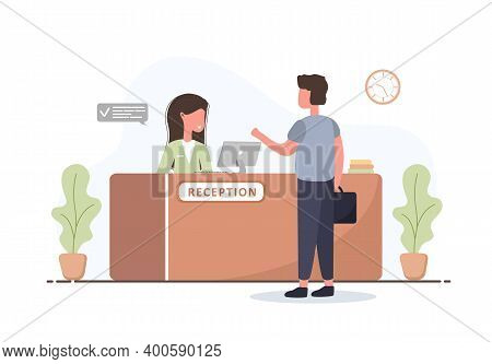 Reception Interior. Young Woman Receptionist And Man With Briefcase At Reception Desk. Hotel Booking