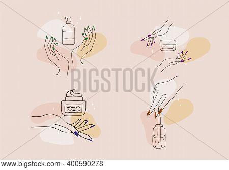 Female Manicured Hands. Lady Painting, Polishing Nails. Nail Polish And Nail File. Vector Illustrati