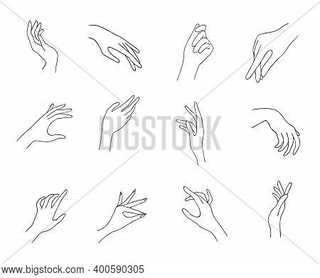 Women Hand Icons. Elegant Female Hands Of Different Gestures. Lineart In A Trendy Minimalist Style.