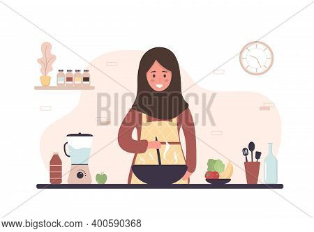 Arab Woman Cooking In Kitchen. Smiling Girl Preparing Homemade Meals For Lunch Or Dinner. Preparatio