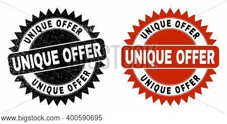 Black Rosette Unique Offer Seal Stamp. Flat Vector Scratched Seal Stamp With Unique Offer Message In