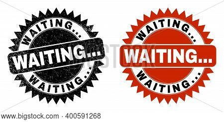 Black Rosette Waiting... Seal Stamp. Flat Vector Scratched Stamp With Waiting... Caption Inside Shar