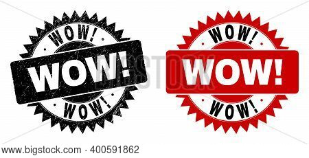Black Rosette Wow Exciting Seal Stamp. Flat Vector Distress Seal Stamp With Wow Exciting Message Ins