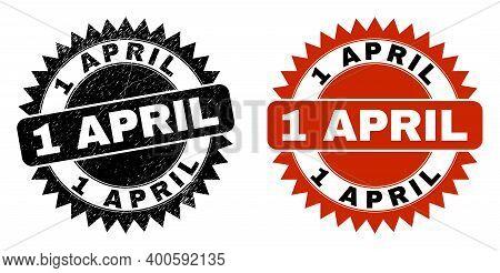 Black Rosette 1 April Seal. Flat Vector Scratched Seal Stamp With 1 April Phrase Inside Sharp Rosett