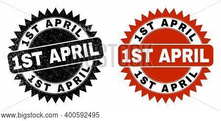 Black Rosette 1st April Watermark. Flat Vector Textured Watermark With 1st April Caption Inside Shar