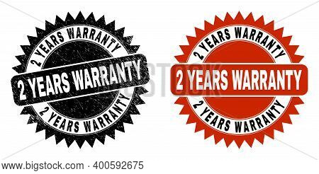 Black Rosette 2 Years Warranty Seal. Flat Vector Distress Seal With 2 Years Warranty Phrase Inside S
