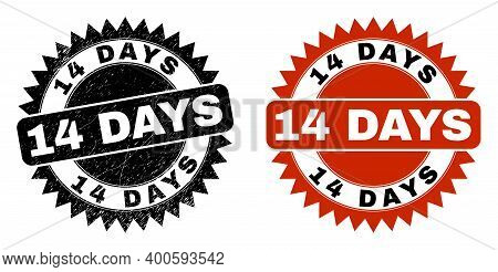 Black Rosette 14 Days Seal Stamp. Flat Vector Distress Seal Stamp With 14 Days Phrase Inside Sharp R