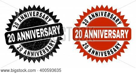 Black Rosette 20 Anniversary Seal Stamp. Flat Vector Textured Watermark With 20 Anniversary Message