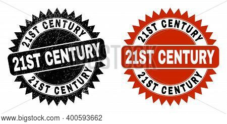 Black Rosette 21st Century Seal Stamp. Flat Vector Scratched Seal Stamp With 21st Century Phrase Ins