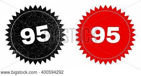Black Rosette 95 Stamp. Flat Vector Grunge Seal Stamp With 95 Caption Inside Sharp Rosette, And Orig