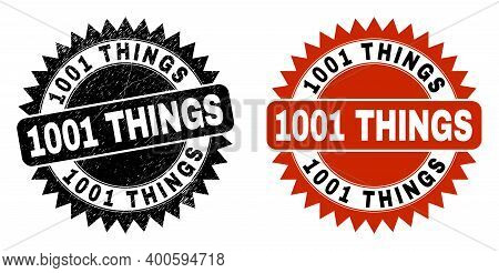 Black Rosette 1001 Things Watermark. Flat Vector Scratched Stamp With 1001 Things Title Inside Sharp
