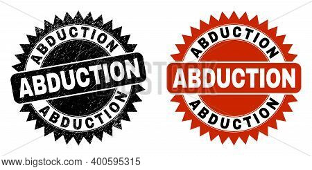 Black Rosette Abduction Stamp. Flat Vector Grunge Seal Stamp With Abduction Phrase Inside Sharp Rose
