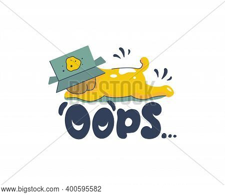 Cartoonish Puppy And A Lettering Phrase - Oops. The Funny Dog Made A Prank With A Box