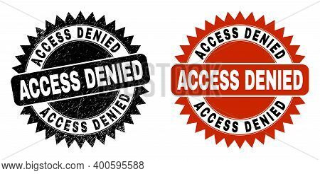 Black Rosette Access Denied Watermark. Flat Vector Textured Stamp With Access Denied Message Inside