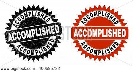 Black Rosette Accomplished Seal Stamp. Flat Vector Scratched Seal Stamp With Accomplished Text Insid