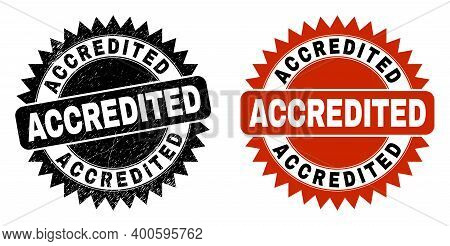 Black Rosette Accredited Seal Stamp. Flat Vector Grunge Seal Stamp With Accredited Text Inside Sharp