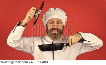 Ceramic Applied Pan. Preparing Food In Kitchen. Cooking Food Concept. High Quality Frying Pan. Beard