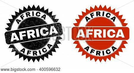Black Rosette Africa Seal. Flat Vector Scratched Seal With Africa Phrase Inside Sharp Rosette, And O
