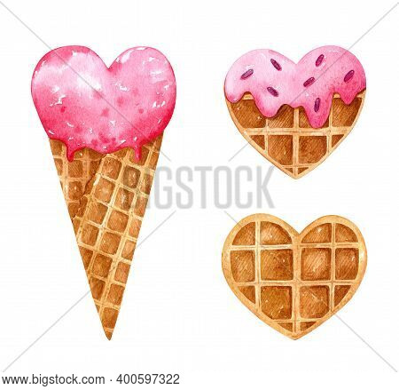 Valentine's Day Watercolor Set With Heart Shaped Desserts. Strawberry Ice Cream In A Waffle Cone, Wa