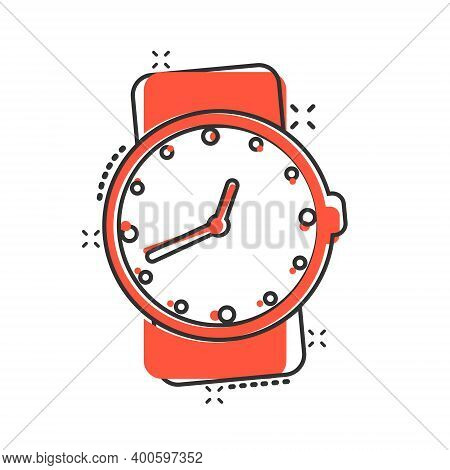 Wrist Watch Icon In Comic Style. Hand Clock Cartoon Vector Illustration On White Isolated Background