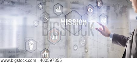Mission Concept. Finacial Success Chart Concept On Virtual Screen. Business Background.