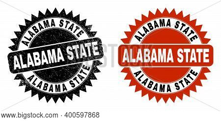 Black Rosette Alabama State Seal Stamp. Flat Vector Scratched Seal Stamp With Alabama State Caption