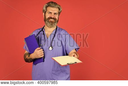 Health Care. Medical Treatment Concept. Documents And Protocols. Private Clinic. Hospital Department
