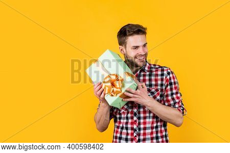 What A Surprise. Shopping Sale. Happy Birthday Guy In Checkered Shirt. Stylish Male With Holiday Acc