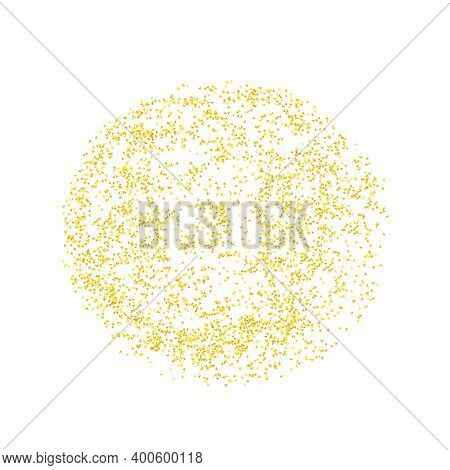 Round, Circle Backdrop Golden Texture Crumbs. Gold Dust Scattering On A White Background. Particles